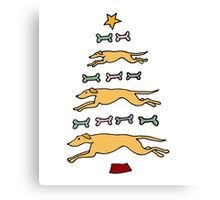 Fun Cool Greyhound Dog and Biscuits Christmas Tree Canvas Print
