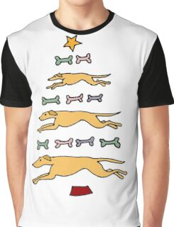 Fun Cool Greyhound Dog and Biscuits Christmas Tree Graphic T-Shirt