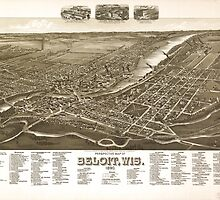 Panoramic Maps Perspective map of Beloit Wis 1890 by wetdryvac