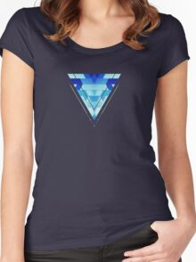 Abstract geometric triangle pattern (futuristic future symmetry) in ice blue Women's Fitted Scoop T-Shirt