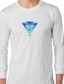 Abstract geometric triangle pattern (futuristic future symmetry) in ice blue Long Sleeve T-Shirt