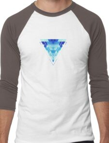 Abstract geometric triangle pattern (futuristic future symmetry) in ice blue Men's Baseball ¾ T-Shirt