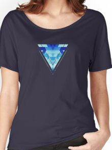 Abstract geometric triangle pattern (futuristic future symmetry) in ice blue Women's Relaxed Fit T-Shirt