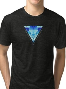 Abstract geometric triangle pattern (futuristic future symmetry) in ice blue Tri-blend T-Shirt