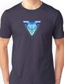 Abstract geometric triangle pattern (futuristic future symmetry) in ice blue Unisex T-Shirt