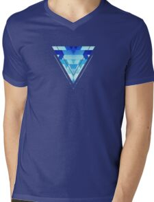Abstract geometric triangle pattern (futuristic future symmetry) in ice blue Mens V-Neck T-Shirt
