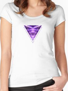 Geometric Street Night Light (HDR Photo Art) Purple Women's Fitted Scoop T-Shirt