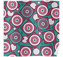 Retro pattern in the squares and circles Poster