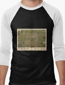 Panoramic Maps City of Lima O 1892 Men's Baseball ¾ T-Shirt