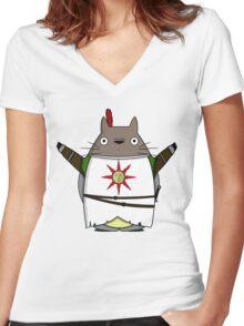 Totoro praise the sun Women's Fitted V-Neck T-Shirt