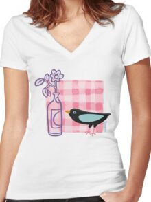 Breakfast with the Bird Women's Fitted V-Neck T-Shirt