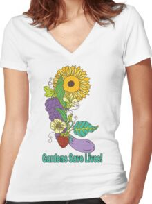 Gardens Save Lives Women's Fitted V-Neck T-Shirt