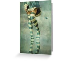 Lovely Girl with Striped Socks Greeting Card