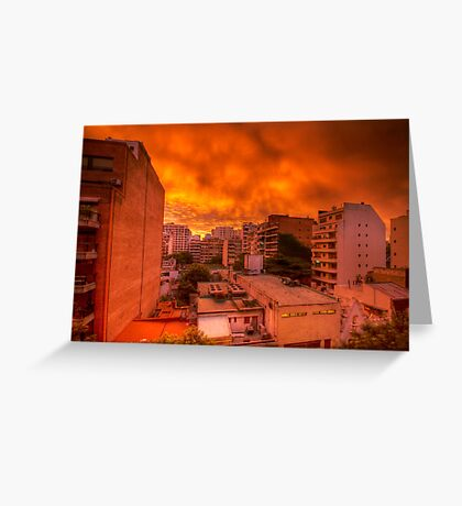 Burning Sky, Buenos Aires, Argentina Greeting Card