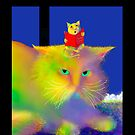 'Boo Cat and George the Singing Mouse', Greeting Card or Small Print by luvapples downunder/ Norval Arbogast