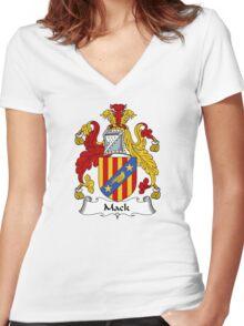 Mack Coat of Arms / Mack Family Crest Women's Fitted V-Neck T-Shirt