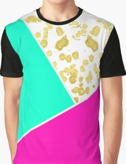 Neon Teal & Pink Color Block & Faux Gold Splatter Graphic T-Shirt