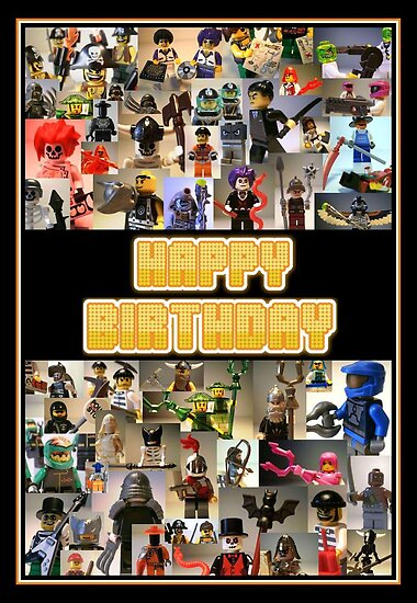 Happy Birthday Greeting Card, Montage of Custom LEGO® Minifigs, by Customize My Minifig by Chillee