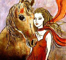 """Scarlet's Pony Horse (Linocut) 2 by Belinda """"BillyLee"""" NYE (Printmaker)"""