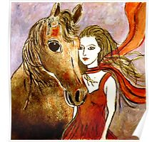 Scarlet's Pony Horse (Linocut) 2 Poster