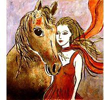 Scarlet's Pony Horse (Linocut) 2 Photographic Print