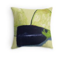 Sliced aubergine Throw Pillow