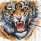 Tiger Watercolor Painting by Olga Shvartsur