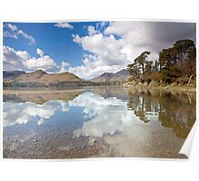Cloud reflections at Friars Creag, Derwentwater Poster