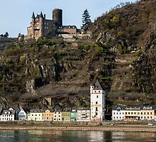 St. Goarshausen & Katze Castle in the Rhine Gorge, Germany. by David A. L. Davies