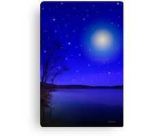 Moon and Stars Landscape Canvas Print