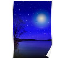 Moon and Stars Landscape Poster