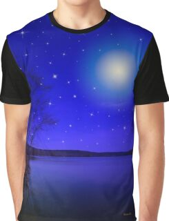 Moon and Stars Landscape Graphic T-Shirt