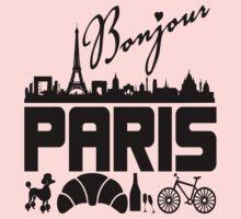 Bonjour Paris France Kids Tee