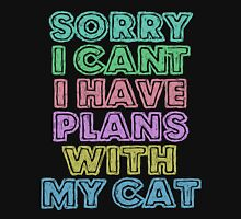 Sorry I Can't I Have Plans With My Cat Womens Fitted T-Shirt