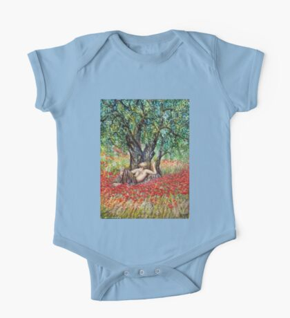 PAN, OLIVE TREE AND POPPY FIELDS One Piece - Short Sleeve