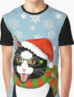 Meowie Christmas - Black Tie Style Graphic T-Shirt