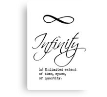 Infinity Definition Calligraphy Canvas Print