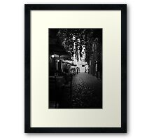 Cafe Walk Mono Framed Print