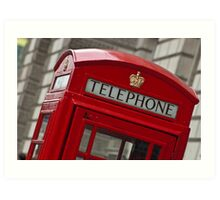Top part of a red telephone box at an angle Art Print