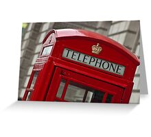 Top part of a red telephone box at an angle Greeting Card