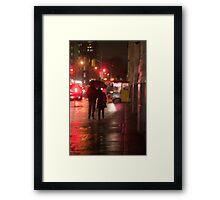 Couple In The Rain On John Street Framed Print