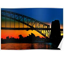 Sunrise, Sydney Harbour Bridge and Opera House Poster