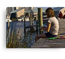 Making a reed boat on dock in Orange Beach Alabama  Canvas Print