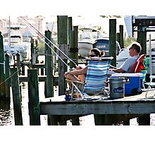 Fishing off the dock Photographic Print