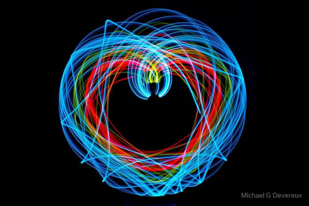 Double Pendulum with LEDs by Michael G Devereux