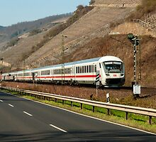 Intercity train near Boppard in the Rhine Valley, Germany. by David A. L. Davies
