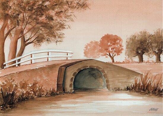 OLD BRIDGE IN OLD BROWN by RainbowArt
