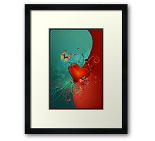 Red Heart with Butterfly POSTCARD Framed Print