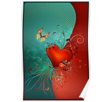 Red Heart with Butterfly POSTCARD Poster