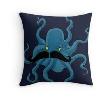 Octopus with a Mustache Throw Pillow